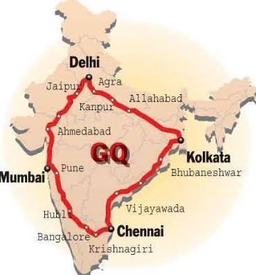 mappa del quadrilatero d'oro in india